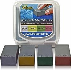 Petzoldt's Profi Nass-Schleifblock Set mit Körnung 800, 1500, 2000 und 3000, bearbeiten Sie Staubeinschlüsse, Lackläufer, Beispritzränder o. ausgetupfte Steinschläge