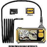 pancellent Borescope Industriel Numérique 1920X1080P, Vidéoscope à Endoscope avec Caméra D'inspection étanche IP67, écran LCD
