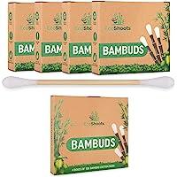 EcoShoots 400 o 1000 cotton fioc di bambù | 4x100 Bambud Biologici | Confezione senza plastica riciclata | Auricolari in…