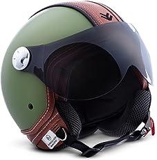 "ARMOR · AV-84 ""Vintage Deluxe Green"" (Grün) · Jet-Helm · Chopper Mofa Roller Scooter-Helm Motorrad-Helm Bobber · ECE certified · Visier · Click-n-Secure Clip · Tragetasche · XXL (63-64cm)"