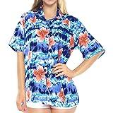 LA LEELA Women's Tunic Relaxed Hawaiian Beach Shirts Floral Print Short Sleeves Collared Summer Tops Blue_X29 L