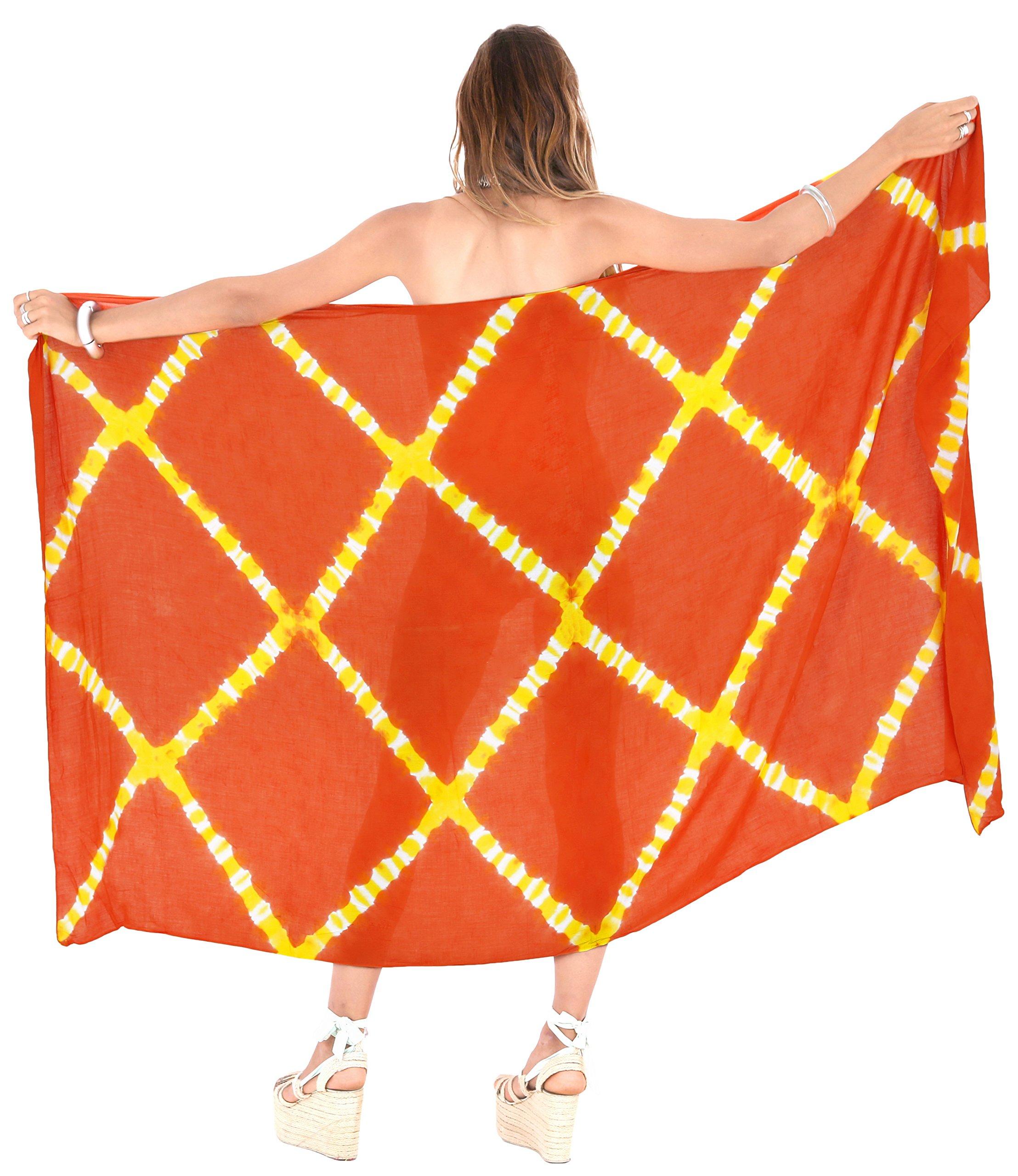 LA LEELA Rayon Costumi da Bagno Involucro Pareo Avvolgere Lungo Sarong Tie Dye 2 spesavip