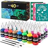Magicfly Waschfest Stofffarben, 40 Farbige 3D Wasserfest Textilfarbe | 30 ml Pro Flasche | Stoffmalfarben Farben Textilgestal