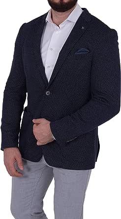 Men's Jersey Casual Polka Dot Blazer Two Button Jacket Suit Slim Fit