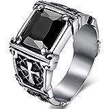 MENDINO, anello in acciaio inossidabile con zircone di cristallo rosso rubino, intarsio vintage con croce celtica, per uomo o donna, con sacchetto di velluto