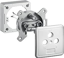 Goobay 68852 3-Loch Antennen-Dose (SAT / TV /Radio) für Unterputz- und Aufputz-Montage, Weiß