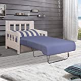 Moebella Schlafsofa Campuso Blau Weiß Sessel Sylt Stoff Sofa Couch Massiv Holz Schlafcouch Bettfunktion