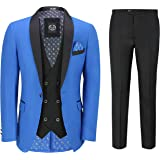 Mens 3 Piece Suit Tuxedo Dinner Jacket Wedding Party Royal Blue Blazer Waistcoat Trouser