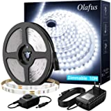 Olafus 10M Kit de Ruban LED Dimmable avec Variateur et Alimentation, 600 LED Blanc Froid 6000K, Bande Lumineuse 2835 12V pour