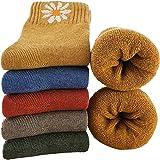 MOSOTECH Calze Donna Invernali Termiche, 5 Paia Calzini Donna Vintage di Lana Calda, Colorate Spesse Traspiranti, Taglia Unic