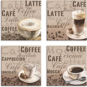 Bild Bilder Leinwand auf Rahmen Kaffe Set 4x 30x30 cm 6603/> MARKE VISARIO TO