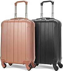 EONO Essentials Leichter 55cm ABS Hartschalenkoffer Reisetrolley Handgepäck Koffer mit 4 Rädern