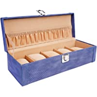 LEDO Men's and Women's Faux Leather Watch Case/Box with 5 Slots of Watches ( Blue )