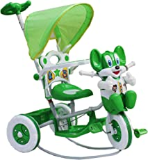 Amardeep and Co Baby Tricycle With Shade And Parental Control (Green, 1-3 Years)