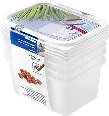 Rotho Gefrierdose Domino - Aromafeste Aufbewahrungsbox mit beschreibbarem Deckel - 4er Set Vorratsdose BPA-frei - Reinigung der Gefrierdose in der Spülmaschine