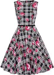 GRACE KARIN Boatneck Vintage Tea Dress with Belt
