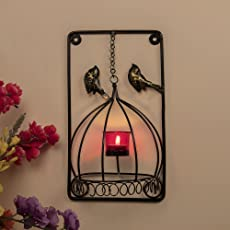 Homesake Metal Tealight Holder Bird Cage with Red Glass Candle, Wall Candle Holder Art, Metal Wall Scone Decor