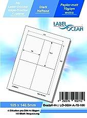 LabelOcean LO-0004-A-70-100 Universal Etiketten, 100 Blatt 70g/qm, Hochwertiges Papier