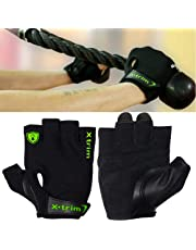XTRIM Men's Suede Leather and Anti microbial Polyester Spandex Mesh Double Stitched Gym Gloves