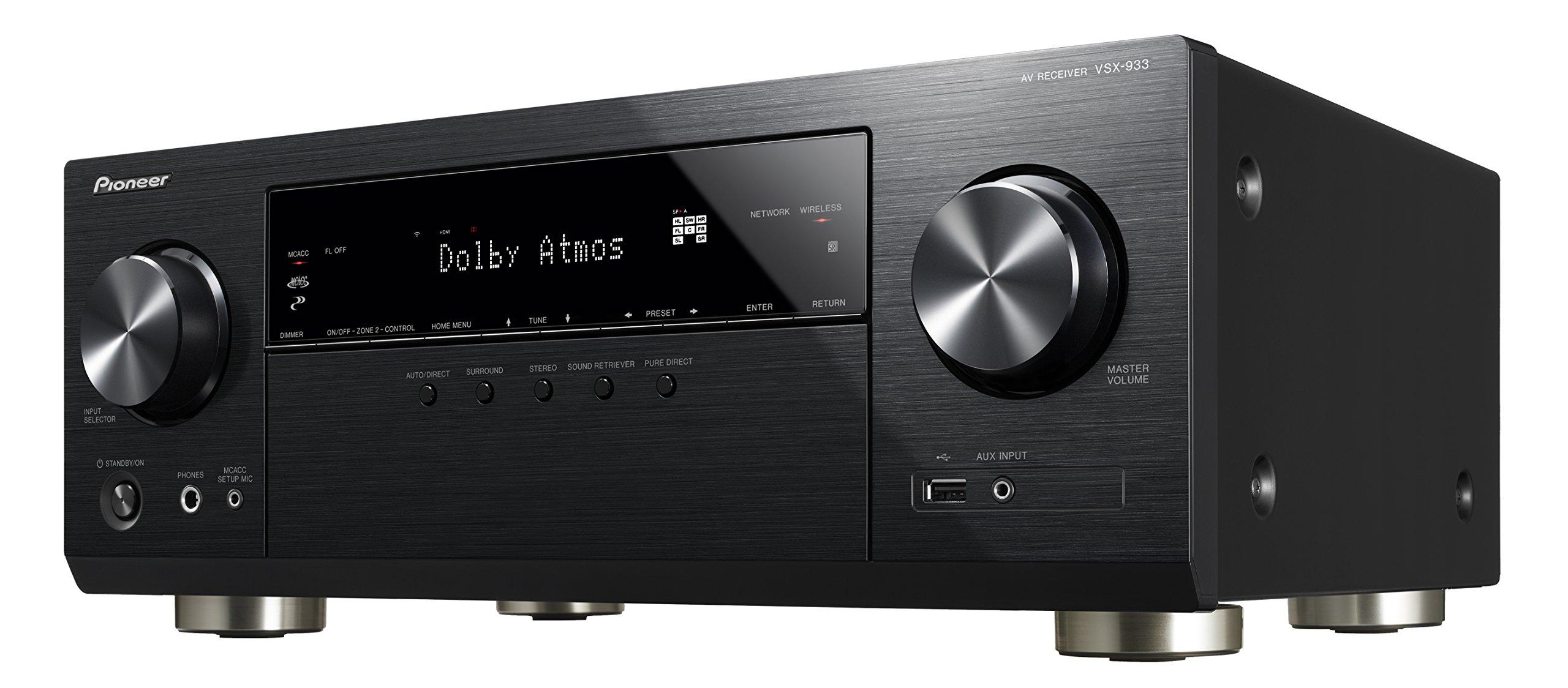 81dS1ElHwiL - Pioneer VSX-933(B) 7.2 Channel AV Receiver (Hifi Amplifier 135 Watt/Channel, Multiroom, Wifi, Bluetooth, Streaming…