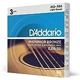 D'Addario EJ16-3D Phosphor Light -Cuerdas para guitarra acústica (.012-.053) tensión baja (Pack de 3)
