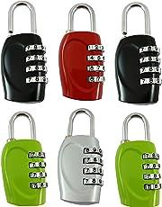DOCOSS-Pack of 6-4 Digit Brass Number Lock Small Bag Lock Travel Luggage Lock Resettable Password Locks Combination Locks Padlock (Assorted Colour)
