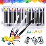 Qhui Rotuladores Lettering 24 Colores Profesionales y 2 Pluma de Pincel de Agua y 3 Plantillas, Rotuladores Punta Pincel de N