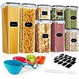 Lufttäta matförvaringsbehållare, Gifort 8 st BPA-fri plast stapelbara behållare för flingor med lock, inkluderar 24 etiketter