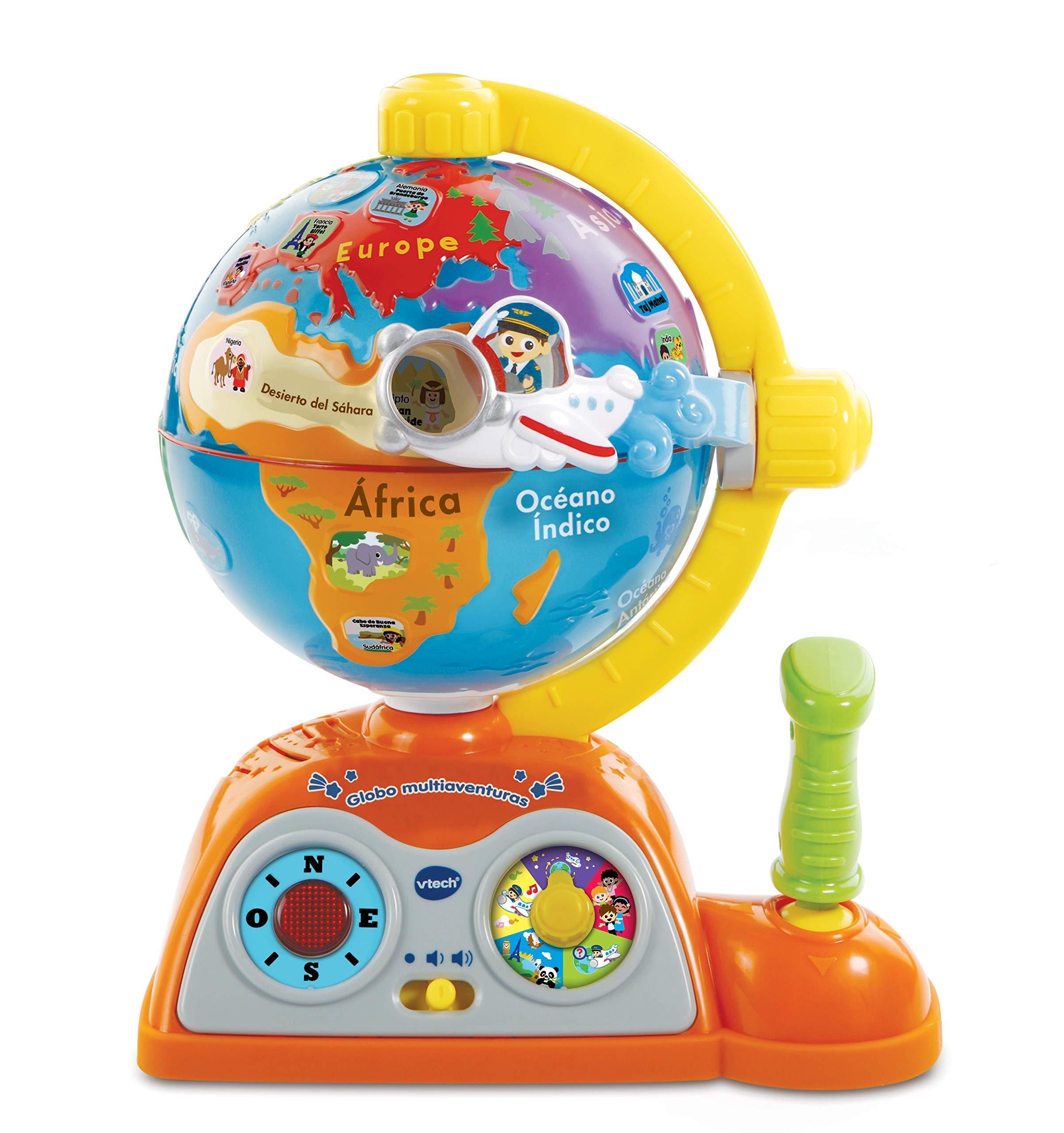 VTech – Globo multiaventuras, infantil interactivo que enseña geografía, continentes, océanos y monumentos, idiomas…