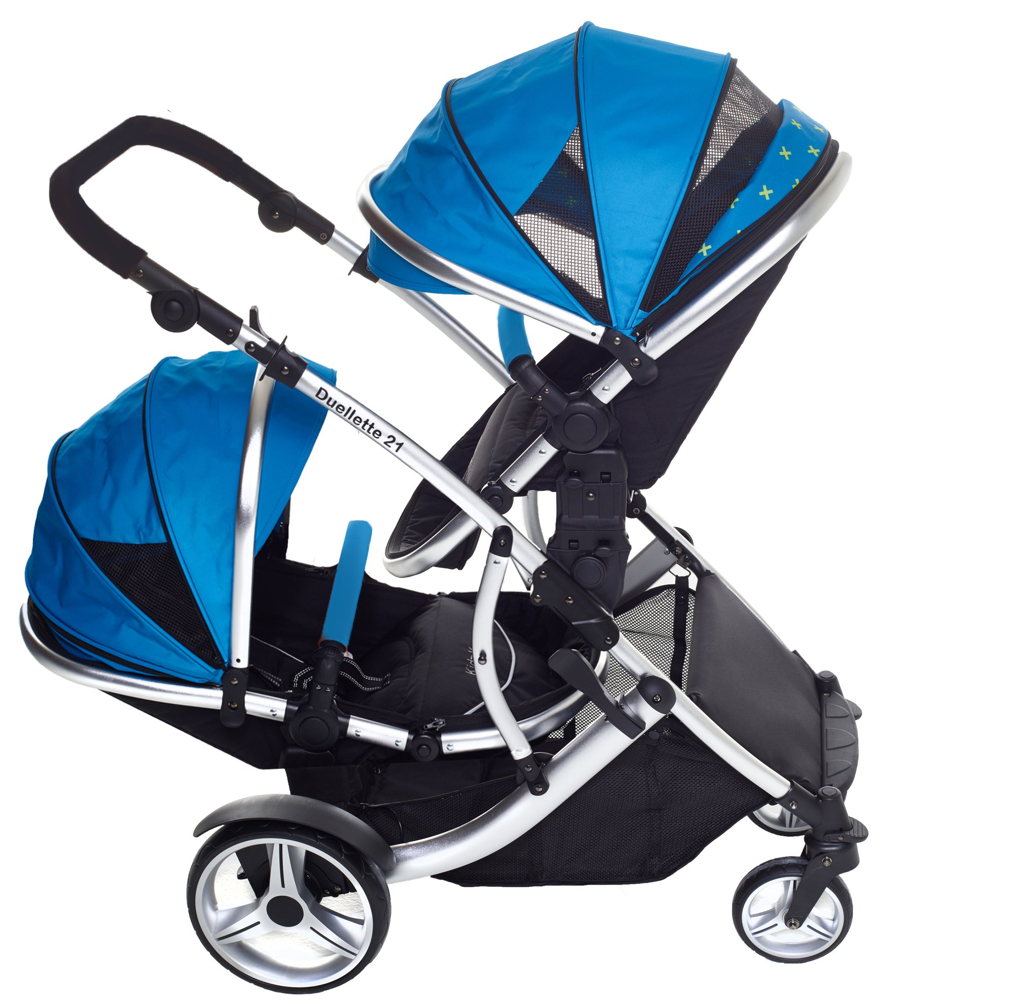 Duellette 21 BS Twin Buggy with Changing Bag and Accessories, Raincovers and 2 Footmuffs Teal Mist Kids Kargo Various seat positions. Both seats can face mum (ideal for twins) Suitability Newborn Twins (if used with car seats) or Newborn/toddler. Accommodates 1 or 2 car seats 2