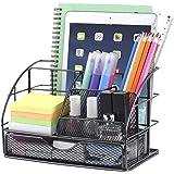 POPRUN Organiseur de bureau,Papeterie Organizer avec Pot à Stylo et tiroir métal maille grille noir pour l'école, le bureau e