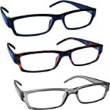 The Reading Glasses Company Black Brown Grey Lightweight Comfortable Readers Value 3 Pack Mens Womens RRR32-127 +1.00