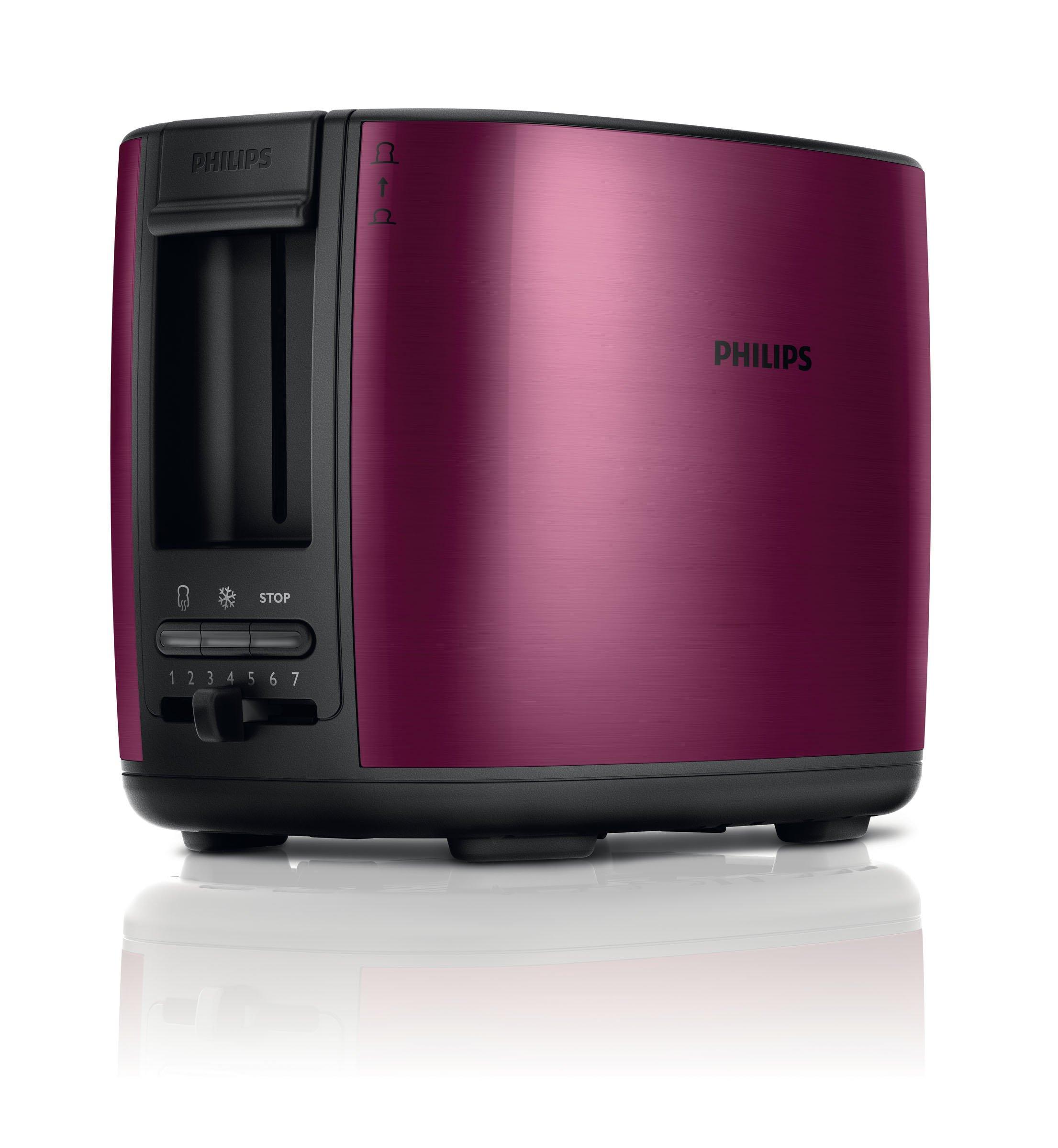 Philips-HD262809-Zwei-Schlitz-Toaster-Auftau-und-Aufwrmfunktion-inklusiv-Brtchenaufsatz-950-W-burgunderrot