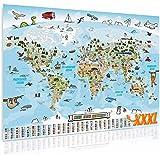 GOODS+GADGETS Panorama Weltkarte für Kinder XXXL - 160 x 120 cm Kinder-Weltkarte komplett handgezeichnet und koloriert (Deuts