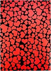 Asian Hobby Crafts Hearts Design A4 Size Craft Paper Sheets with Single Side Decorative Pattern (Red & Black)-Pack of 10