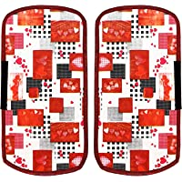 Heart Home Hearts Design PVC 2 Pieces Fridge/Refrigerator Handle Cover (White & Maroon) CTHH5396