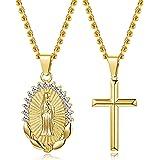 Milacolato 14K Collana pendente in oro placcato per donne Ragazze regali gioielli religiosi per le donne Set collana