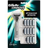 Gillette Mach3 Lamette di Ricambio per Rasoio, Confezione da 12 + 1 Manico Gratis