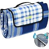 Beautissu BellaPa Picknickdecke wasserdicht 200x200 cm Ultraleicht XXL Campingdecke wasserabweisend und isoliert blau-weiß