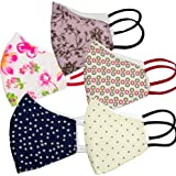 PRIVIU Essentials 100% Cotton Face Mask (Pack of 5) | Designer Mask | 3 Layer | Multicolor