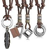 Finrezio 4 Piezas Collar De Cuero para Hombres, Mujeres, Colgante De La Vendimia, Collar De Cadena De Cubo De Plumas Ajustabl