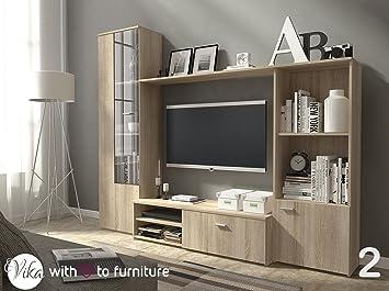 Perfect TV Unit HUGO . Wall Unit Living Room Furniture (Oak Sonoma ) Part 18