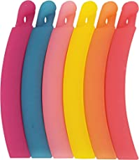 Evogirl Banana Clips Curved Shaped Matte Rainbow Colors, Medium Size - Pack of 6