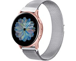 Oumida Bracelet Compatible avec Samsung Galaxy Watch Active2/Active, 20mm Bracelet Montre en Acier Inoxydable Tissé pour Sams