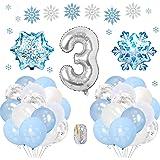 SPECOOL Frozen 3 Años Globos Decoración Cumpleaños Niña, Globo Fiesta de Globos Blancos Azules Confeti de Copos de Nieve para