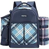 Eono by Amazon - 4 Person Picnic Backpack Hamper Cooler Bag con Juego de Mesa y Manta