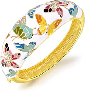 Kami Idea Bracciale, Primavera di Versailles, Farfalla Realizzato con Smalto Squisito, Elegante Portagioie, Regalo di Natale