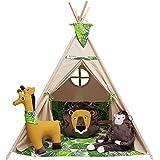 izabell Lektält för barn Teepee teepee set för barn inomhus utomhus leksak tält indisk tekopp med fönster-tee med tillbehör T