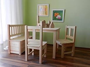 Best of JAM® Kindersitzgruppe 1x Kindertisch 2x Kinderstuhl 1x Kindersitzbank mit Deckelbremse UNBEHANDELT MASSIVHOLZ NEU & OVP