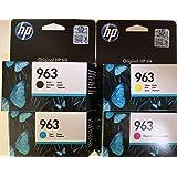 HP 963 Lot de 4 cartouches d'origine pour HP Officejet Pro 9010, 9012, 9015, 9016, 9019, 9020, 9022, 9025